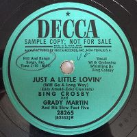 Cover Bing Crosby And Grady Martin And His Slew Foot Five - Just A Little Lovin' (Will Go A Long Way)