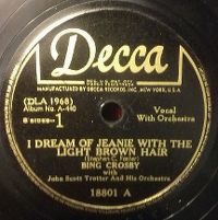 Cover Bing Crosby With John Scott Trotter And His Orchestra - I Dream Of Jeanie With The Light Brown Hair