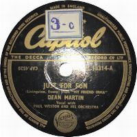 Cover Dean Martin with Paul Weston & His Orchestra - Just For Fun