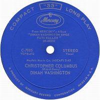 Cover Dinah Washington - Christopher Columbus