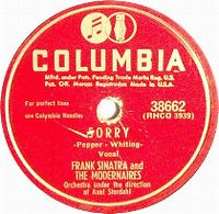 Cover Frank Sinatra & The Modernaires - Sorry