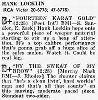 Cover Hank Locklin - Fourteen Karat Gold