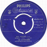Cover Jo Stafford With Frank De Vol And His Orchestra - All Yours (Tua)