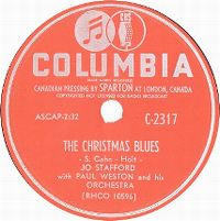Cover Jo Stafford With Paul Weston And His Orchestra - The Christmas Blues