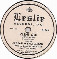 Cover Joe Bari and Pat Easton - Vieni qui (Come To Me)