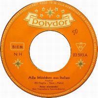Cover Peter Alexander - Alle Mädchen aus Italien
