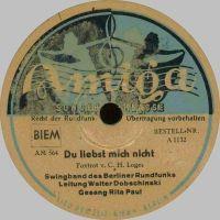 Cover Rita Paul / Walter Dobschinski und die Swingband des Berliner Rundfunks - Du liebst mich nicht