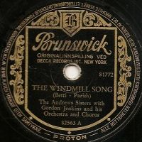 Cover The Andrews Sisters with Gordon Jenkins and His Orchestra - The Windmill Song