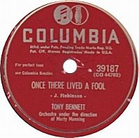 Cover Tony Bennett with Marty Manning And His Orchestra - Once There Lived A Fool