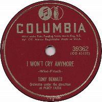 Cover Tony Bennett with Percy Faith And His Orchestra - I Won't Cry Anymore